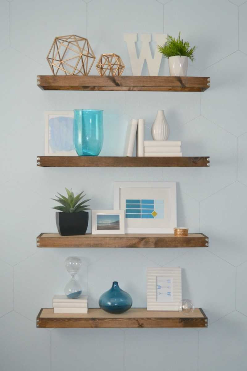 rustic modern floating shelves