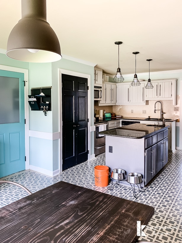 gray kitchen with painted floor
