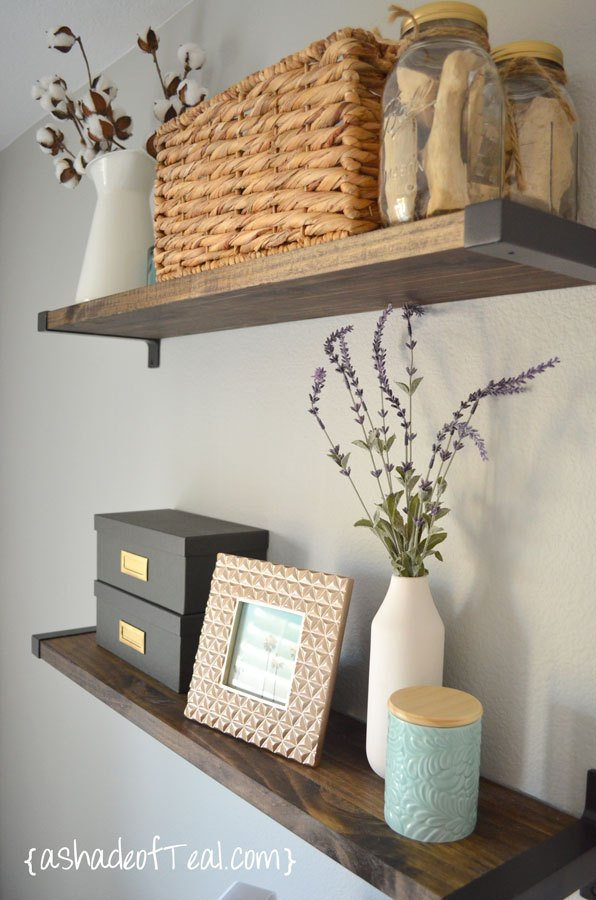 floating shelves with IKEA brackets