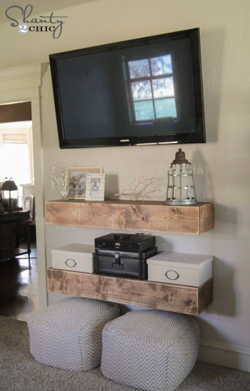 DIY media shelves