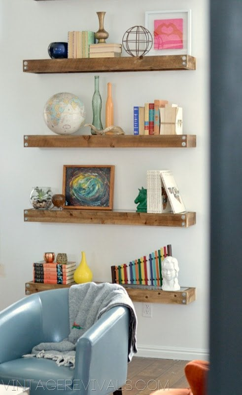 industrial modern floating shelves