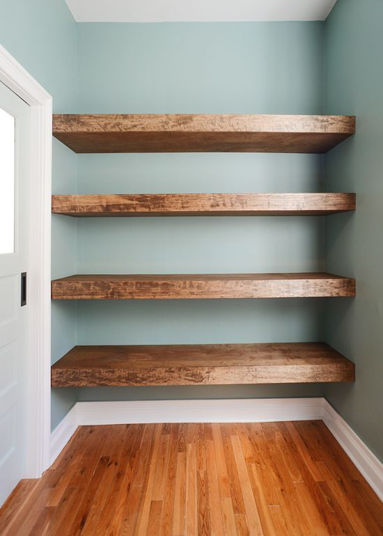 chunky wood floating shelves