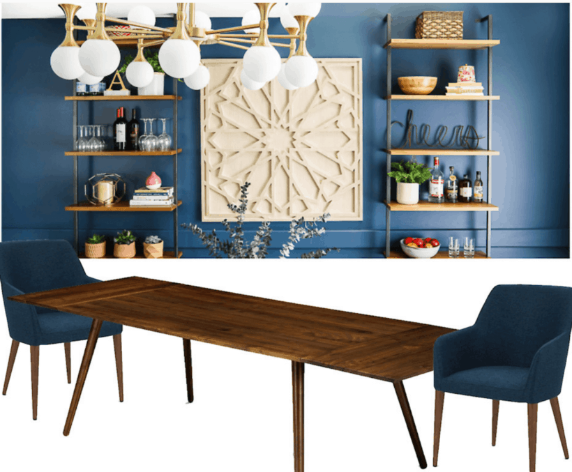 Modern navy blue dining room