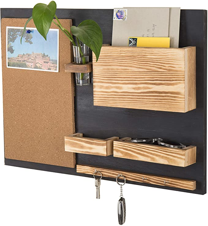 black and wood organizer