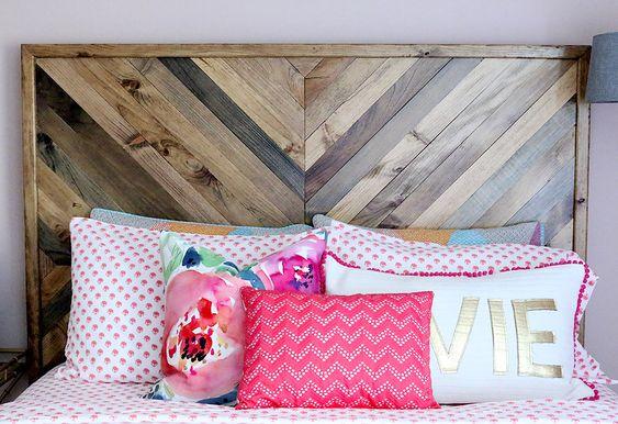 DIY chevron reclaimed wood headboard