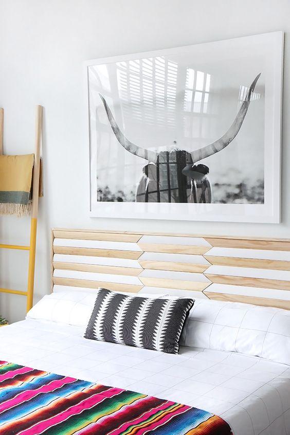 DIY geometric wood inlay headboard