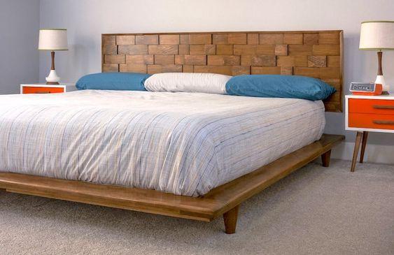 modern wood block DIY headboard