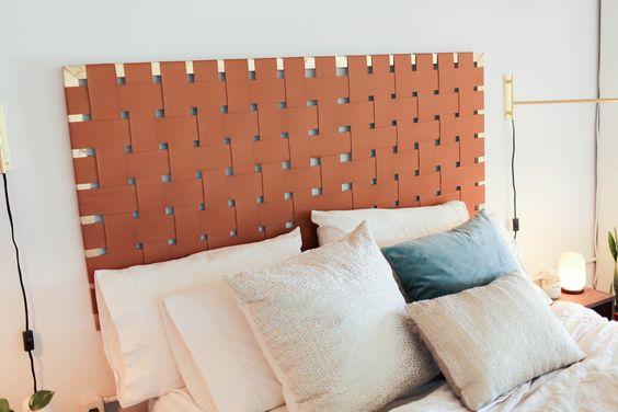 woven faux leather DIY headboard