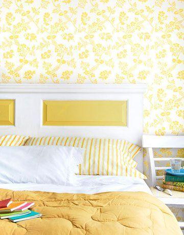 yellow DIY door headboard in yellow room