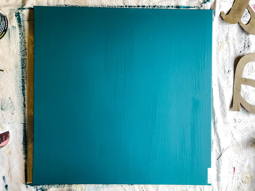 teal painted canvas