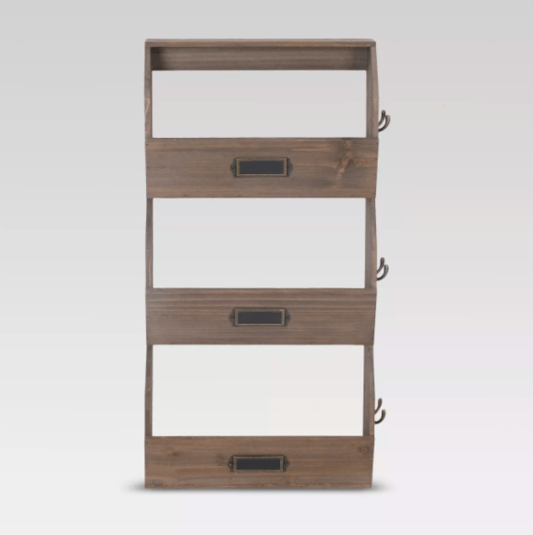 vertical wood organizer with side hooks