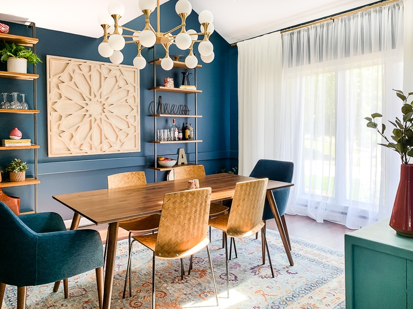 navy blue dining room with Article furniture