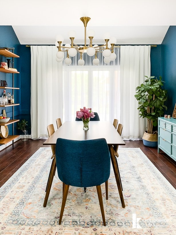 navy blue eclectic dining room