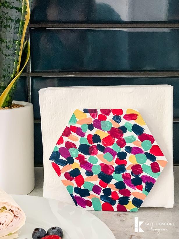colorful DIY napkin holder