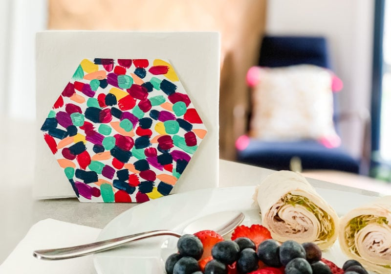 colorful and easy DIY napkin holder sitting on countertop
