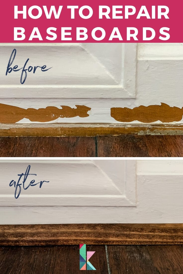 how to repair damaged baseboards photo with text overlay