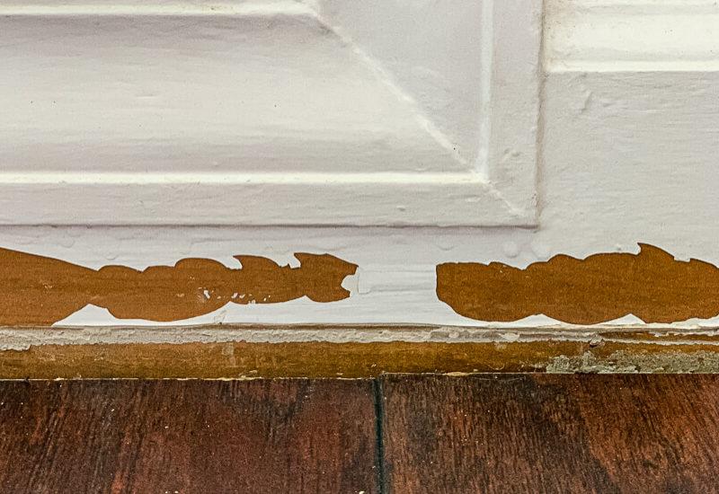 photo of damaged baseboards