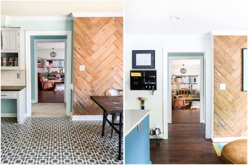 before and after kitchen remodel with laminate flooring
