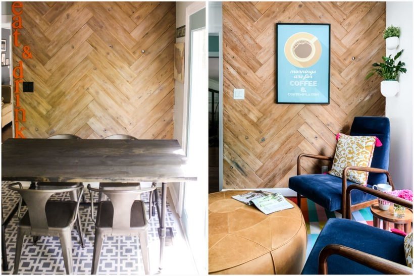 DIY plank wall with herringbone pattern in kitchen