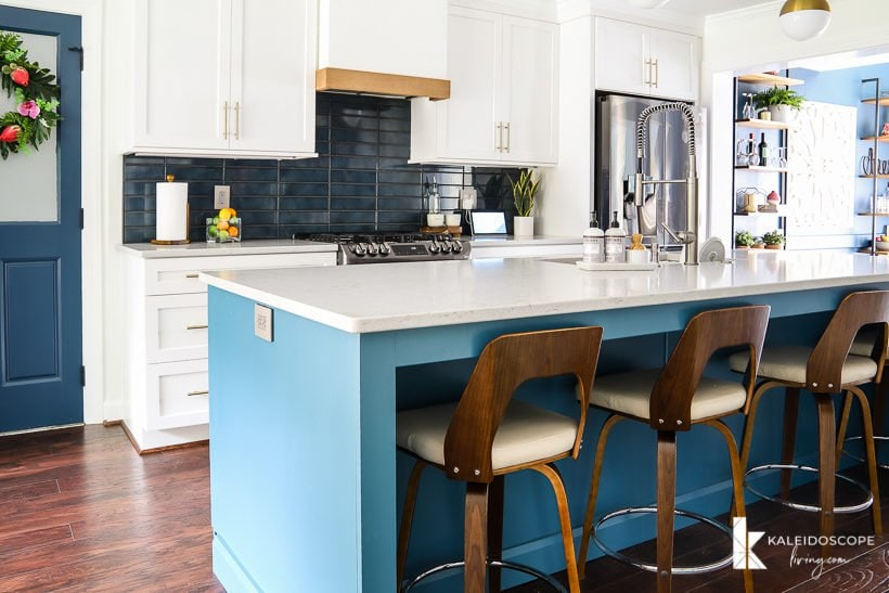 white and teal modern kitchen