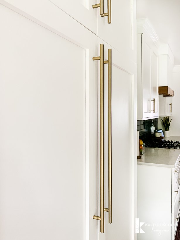 Amerock golden champagne bar pulls on pantry cabinets