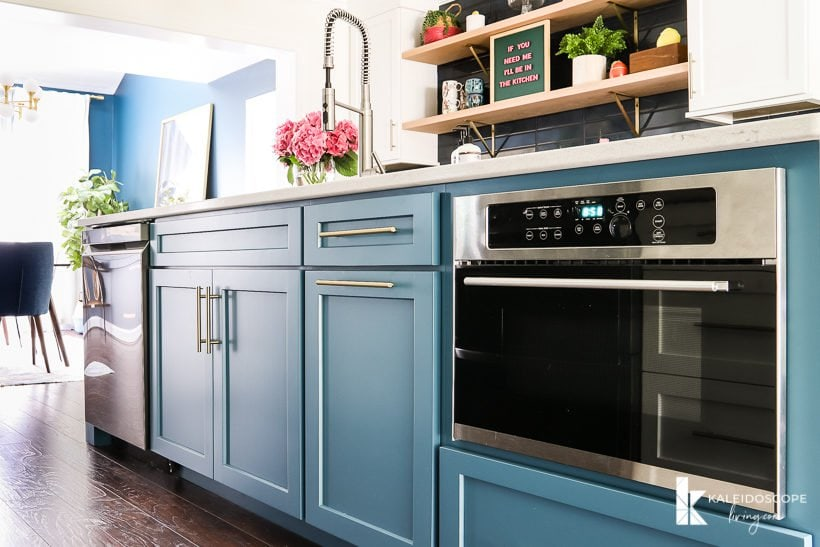 large teal kitchen island silken peacock by Sherwin Williams