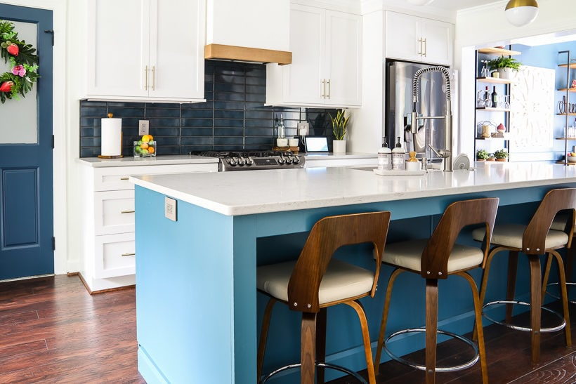 white and teal kitchen remodel reveal