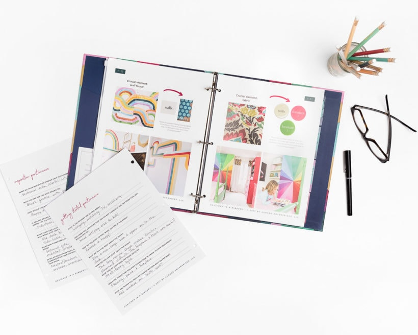 designer in a binder interior design book