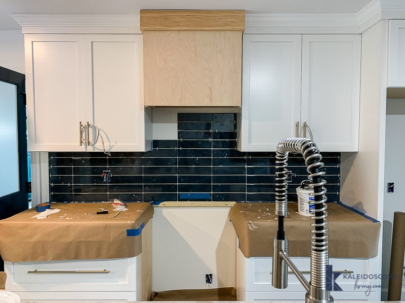 dark blue kitchen backsplash tile