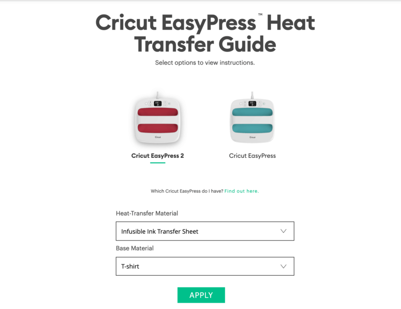 cricut easypress heat transfer guide