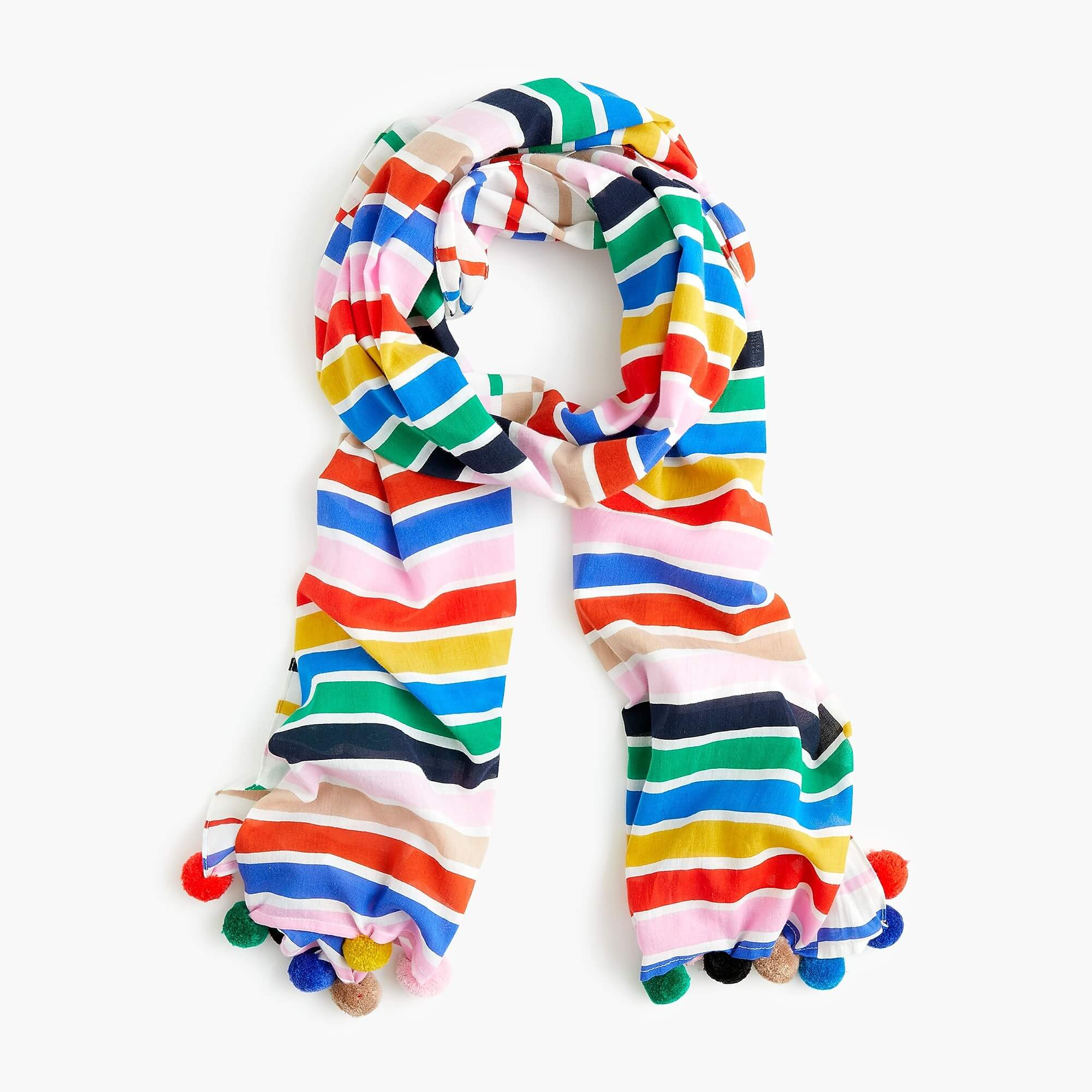 colorful striped pom pom scarf