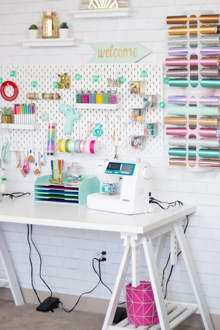 colorful and sophisticated craft room