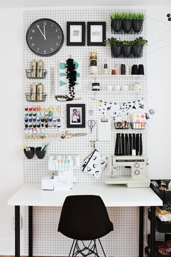 black and white craft room accents