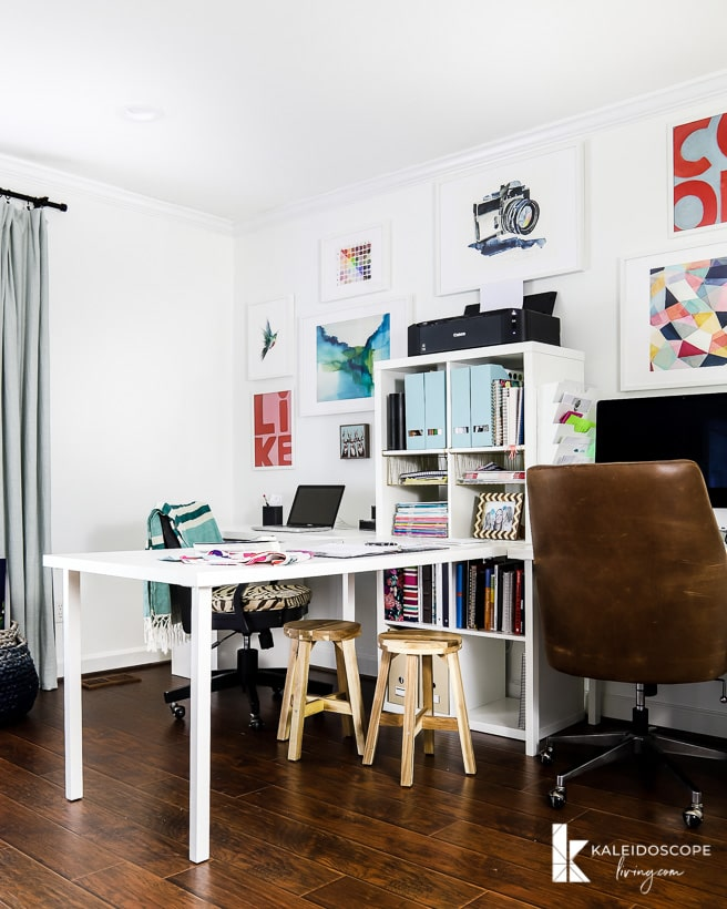 white home office with bright pops of color