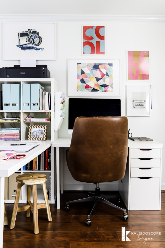 colorful home office with IKEA desk