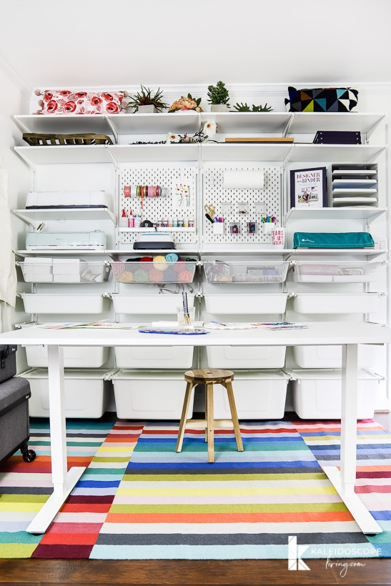 colorful craft room organization using IKEA algot system