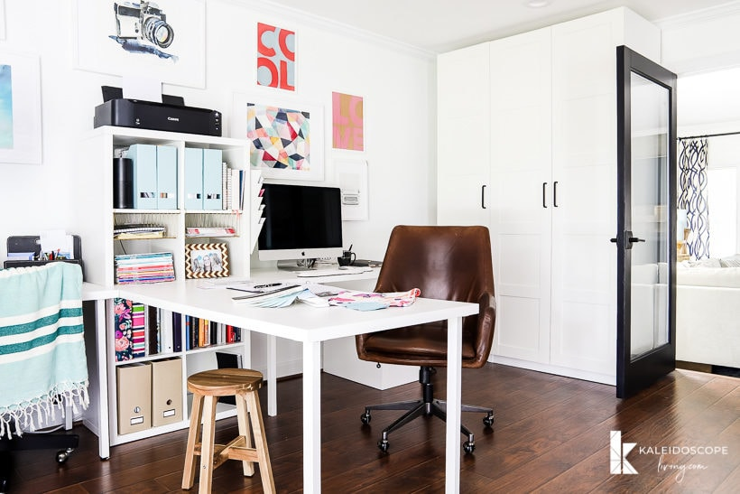 home office with double desk