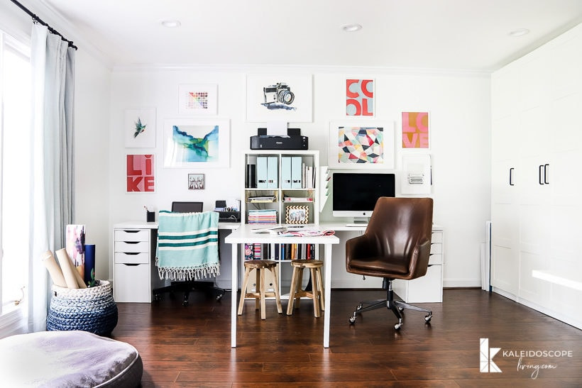 colorful home office with IKEA furniture