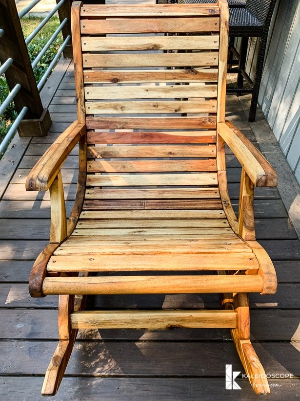 acacia wood rocking chair after refinishing
