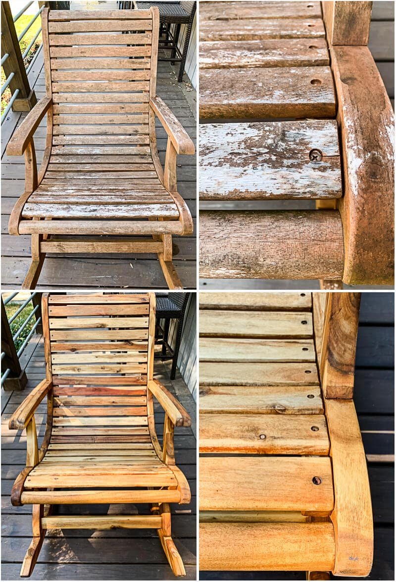 outdoor rocking chairs before and after restoration