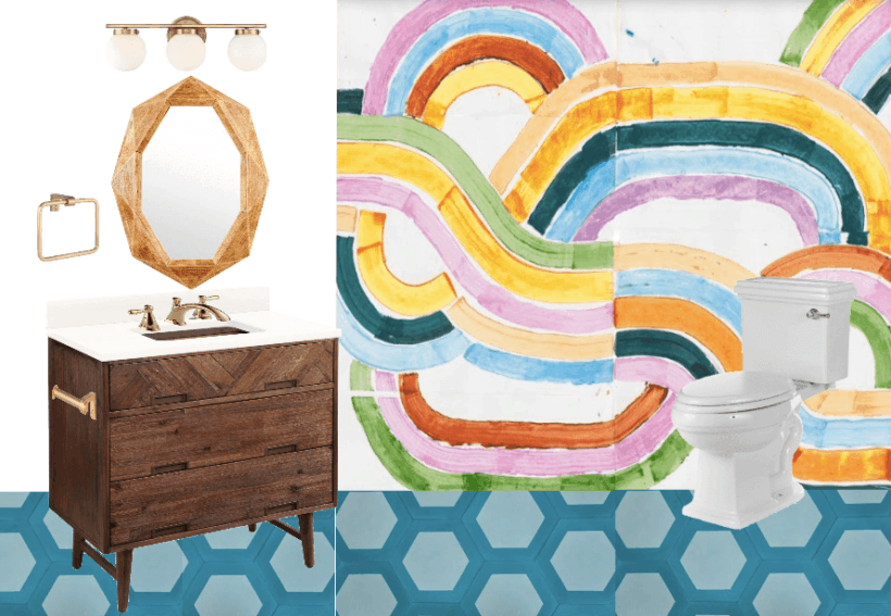 mood board for colorful bathroom renovation
