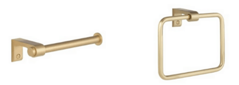 satin brass towel holder and toilet paper holder from build.com