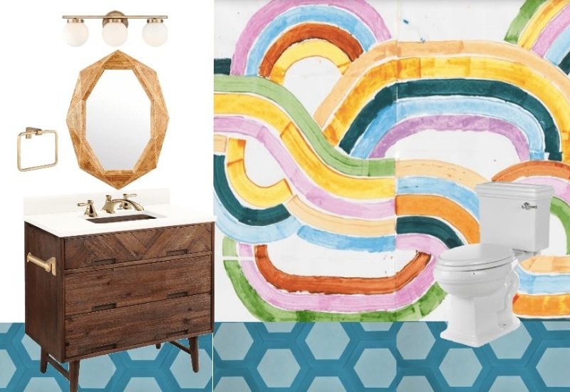mood board for colorful diy bathroom remodel