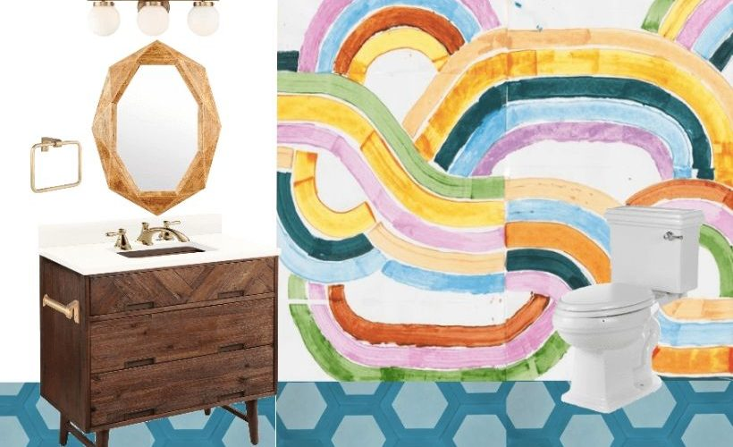mood board for colorful diy bathroom remodel