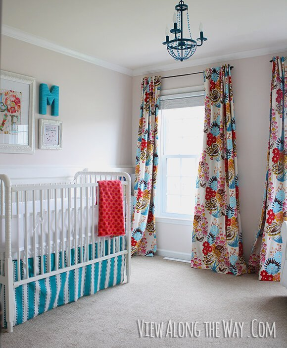 colorful lined nursery curtains