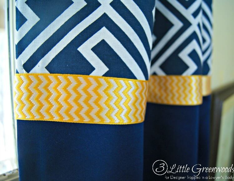 easy DIY curtains with trim and fabric