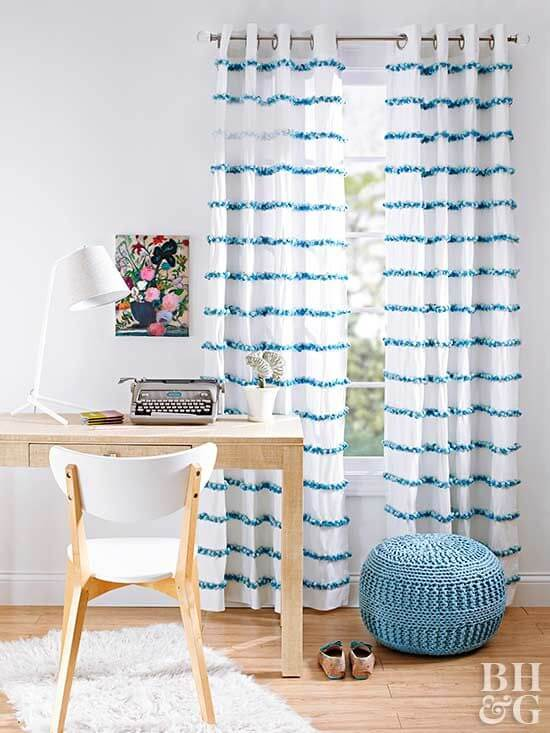 easy pompom curtains