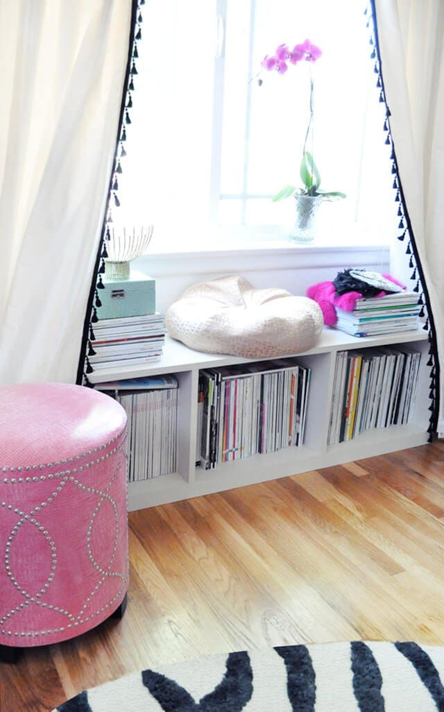 easy fringe curtains in girl's room