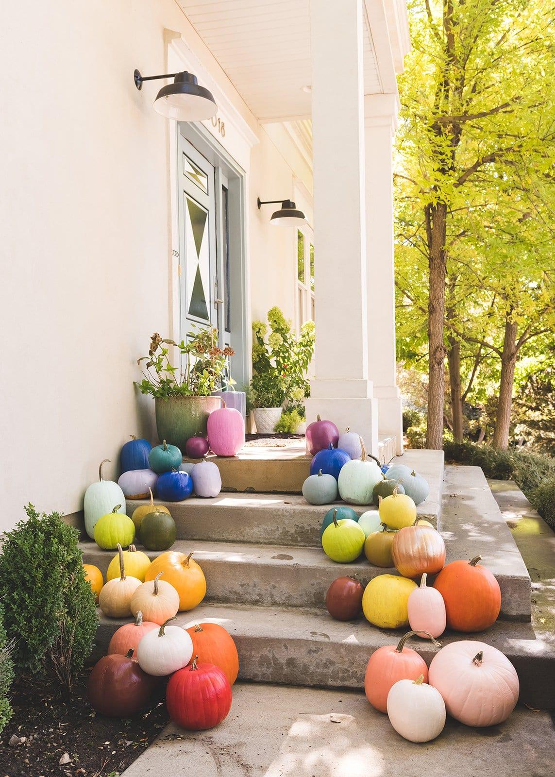 Rainbow pumpkins on the porch
