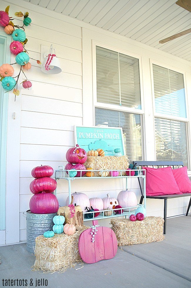 pink and teal fall porch
